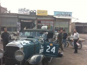 Benson in the wheel shop